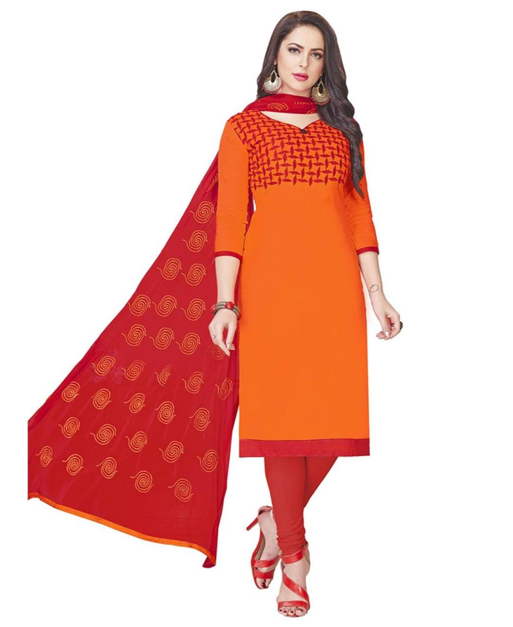 Embroidered Cotton Orange Straight Cut Salwar