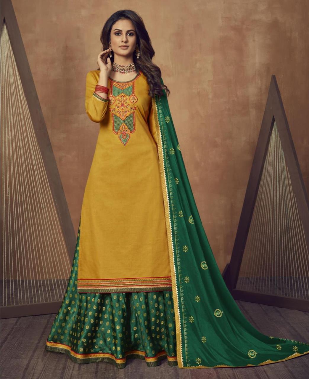Zari Cotton Abaya Style Salwar in Musterd