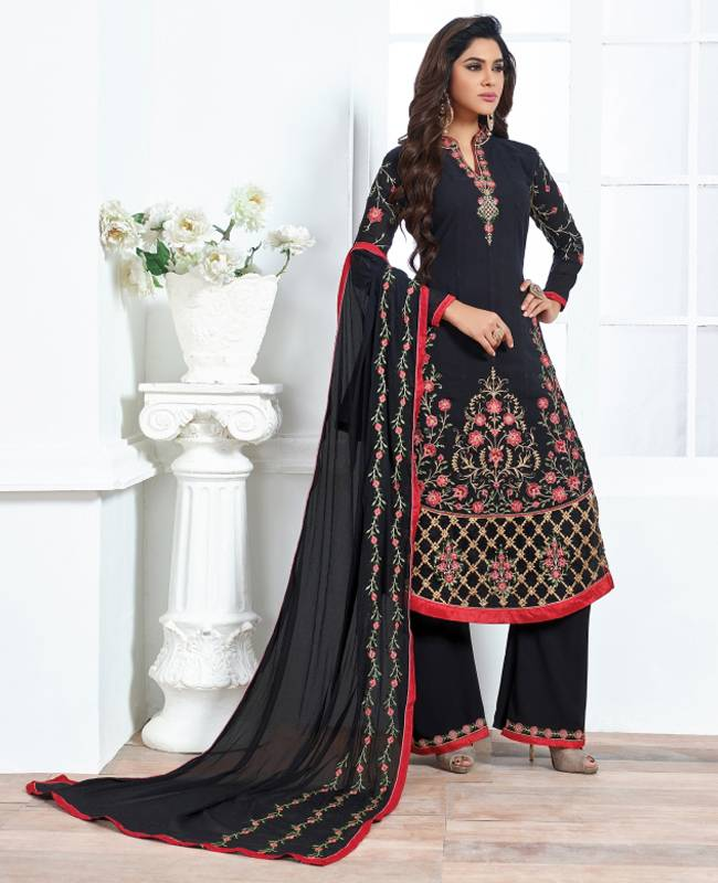Embroidered Faux Georgette Black Salwar Kameez Churidar