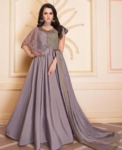 Thread Silk Straight cut Salwar Kameez in Light Purple