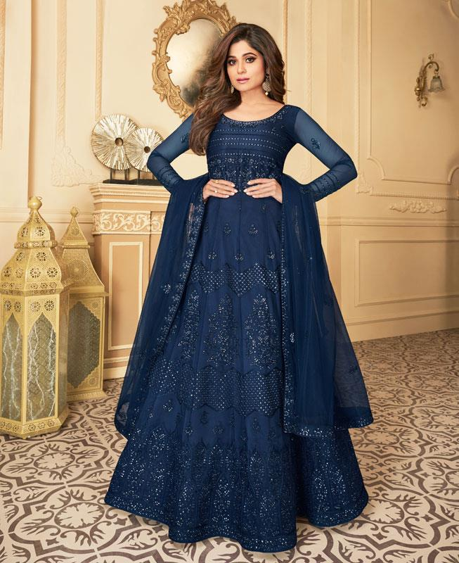 Embroidered Satin Abaya Style Salwar in Blue