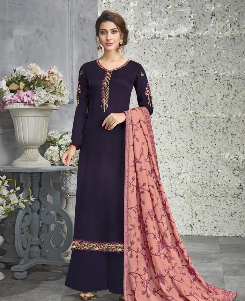 Embroidered Georgette Purple Palazzo Suit Salwar