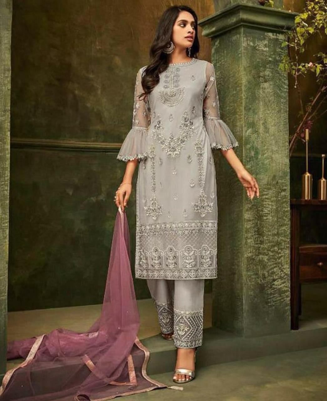 Embroidered Silk Straight cut Salwar Kameez in Grey