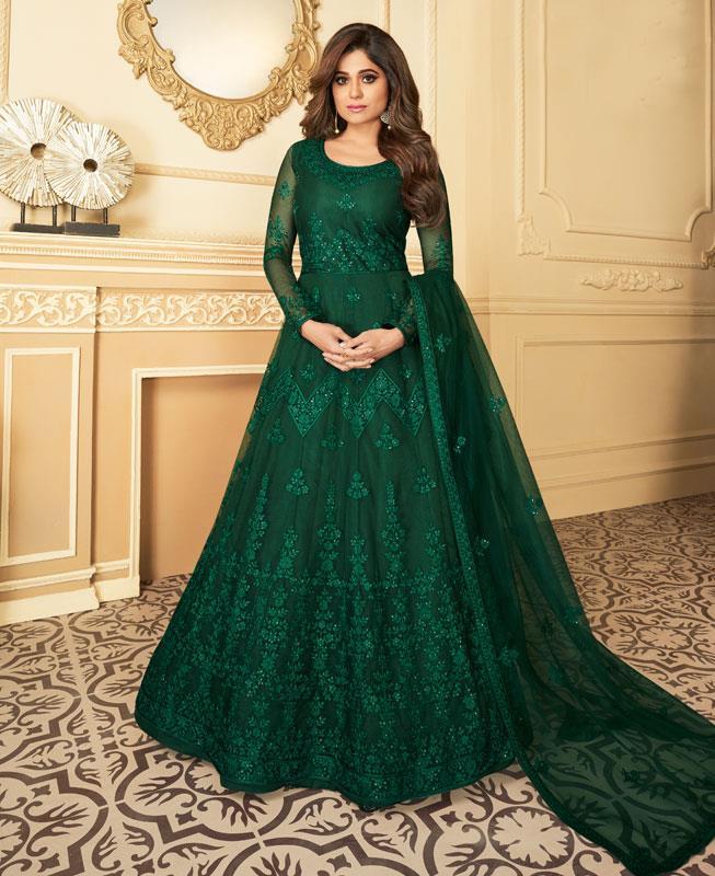 Embroidered Satin Abaya Style Salwar in Green