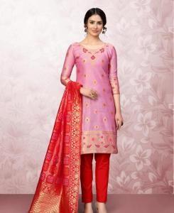 Cotton Straight cut Salwar Kameez in Light Rani