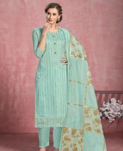HandWorked Cotton Straight cut Salwar Kameez in Light Green