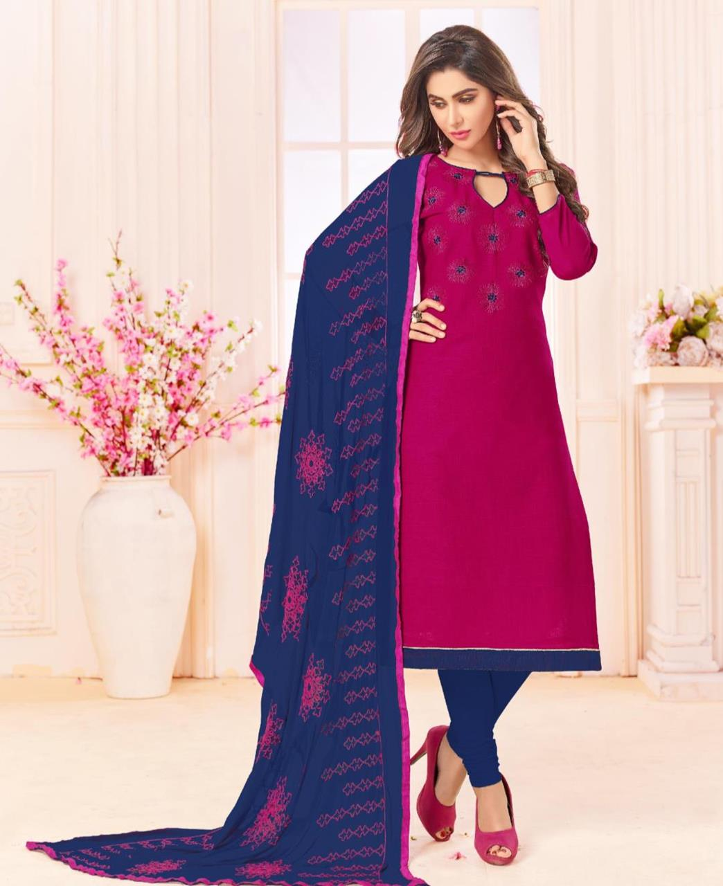 Embroidered Cotton Violet Straight Cut Salwar Kameez