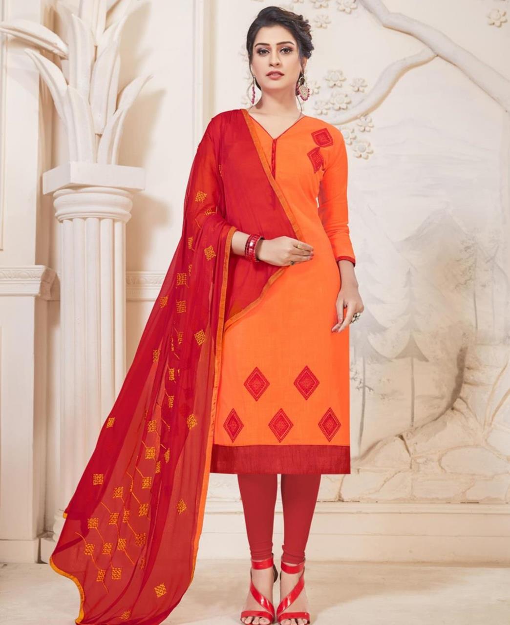 Embroidered Cotton Orange Straight Cut Salwar