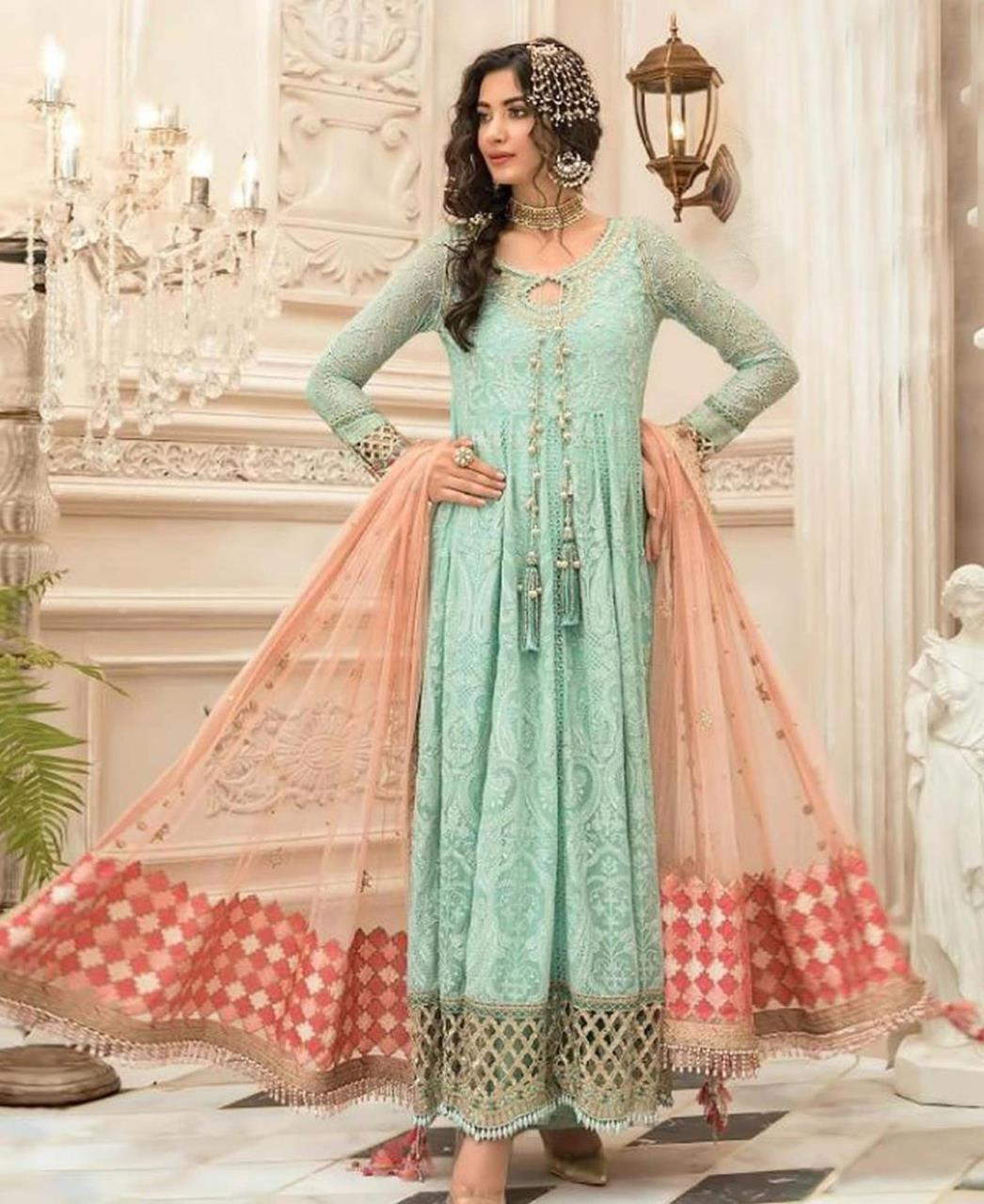 Embroidered Georgette Abaya Style Salwar in Sea Green