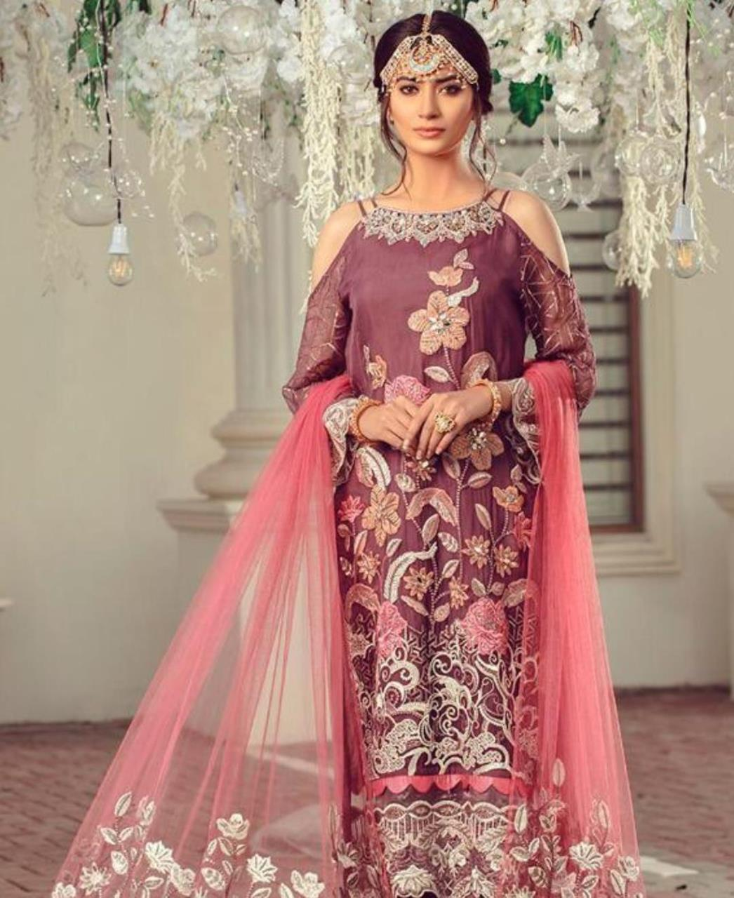 Thread Georgette Straight cut Salwar Kameez in Maroon