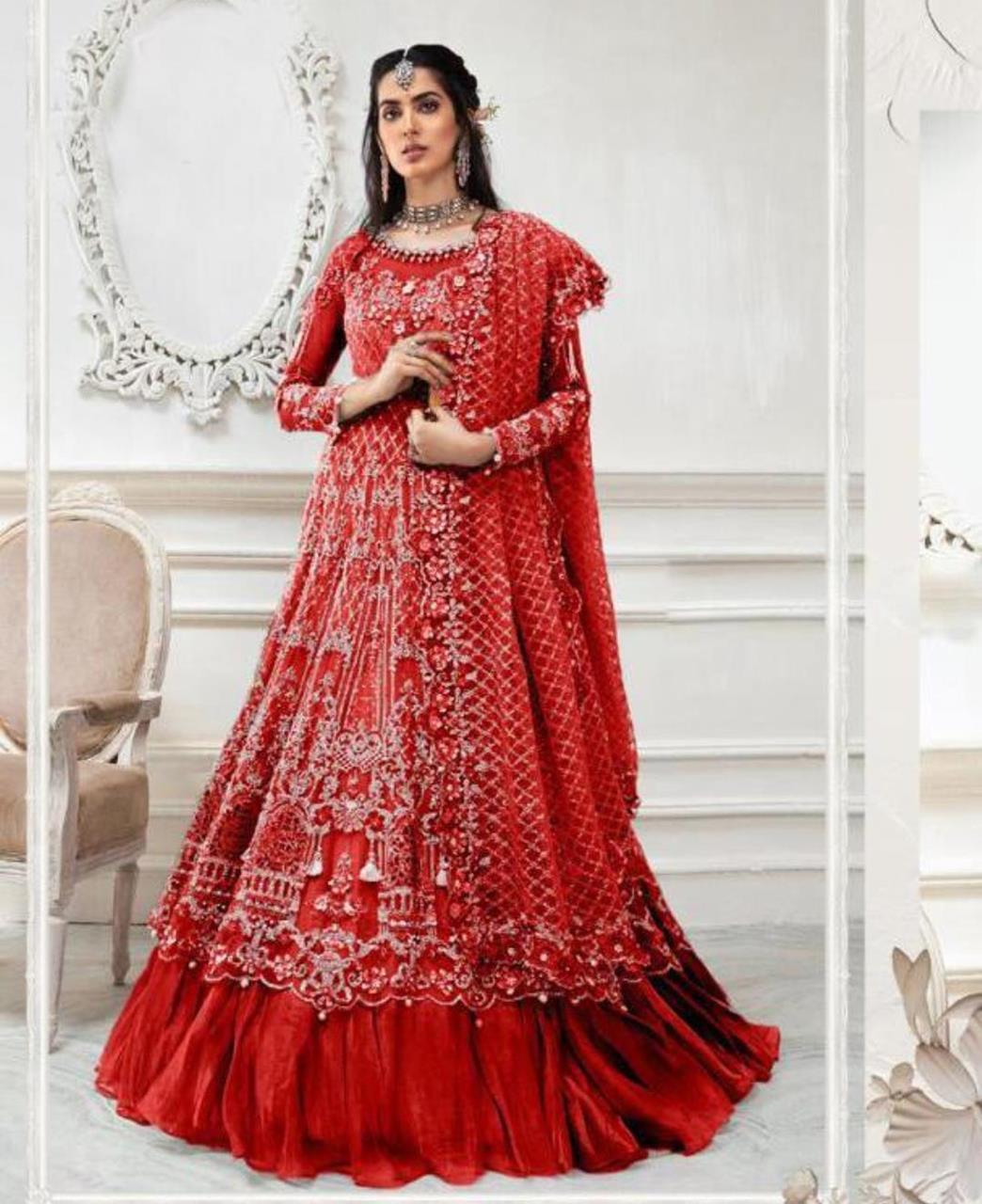 Stone Work Net Abaya Style Salwar in Red