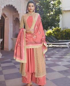 Thread Silk Straight cut Salwar Kameez in Peach  ,  Beige
