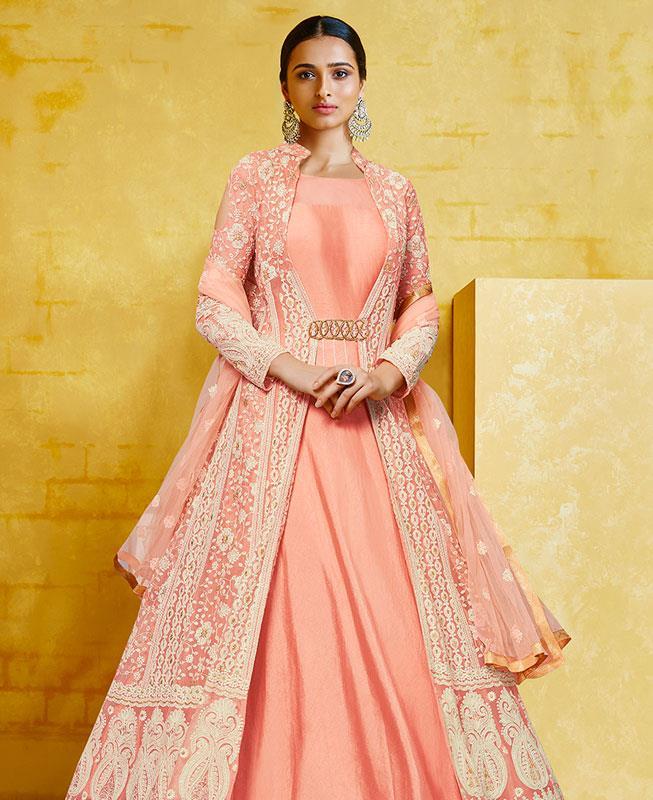 Embroidered Georgette Orange Anarkali Salwar