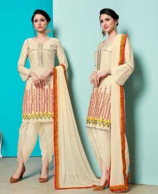 Thread Cotton Beige Patiyala Suit Salwar