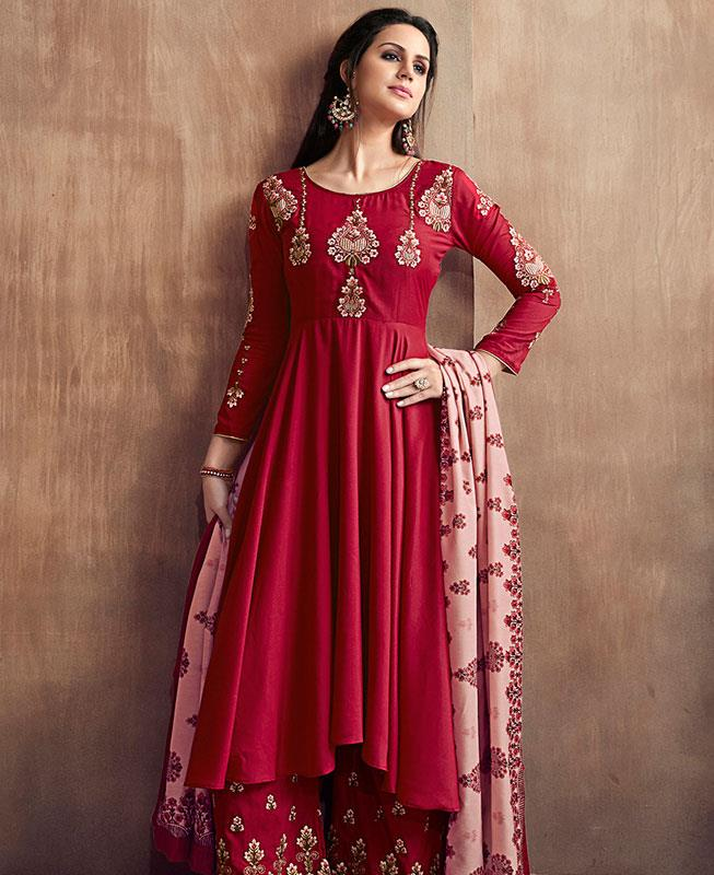 Embroidered Faux Georgette Red Palazzo Suit Salwar Kameez