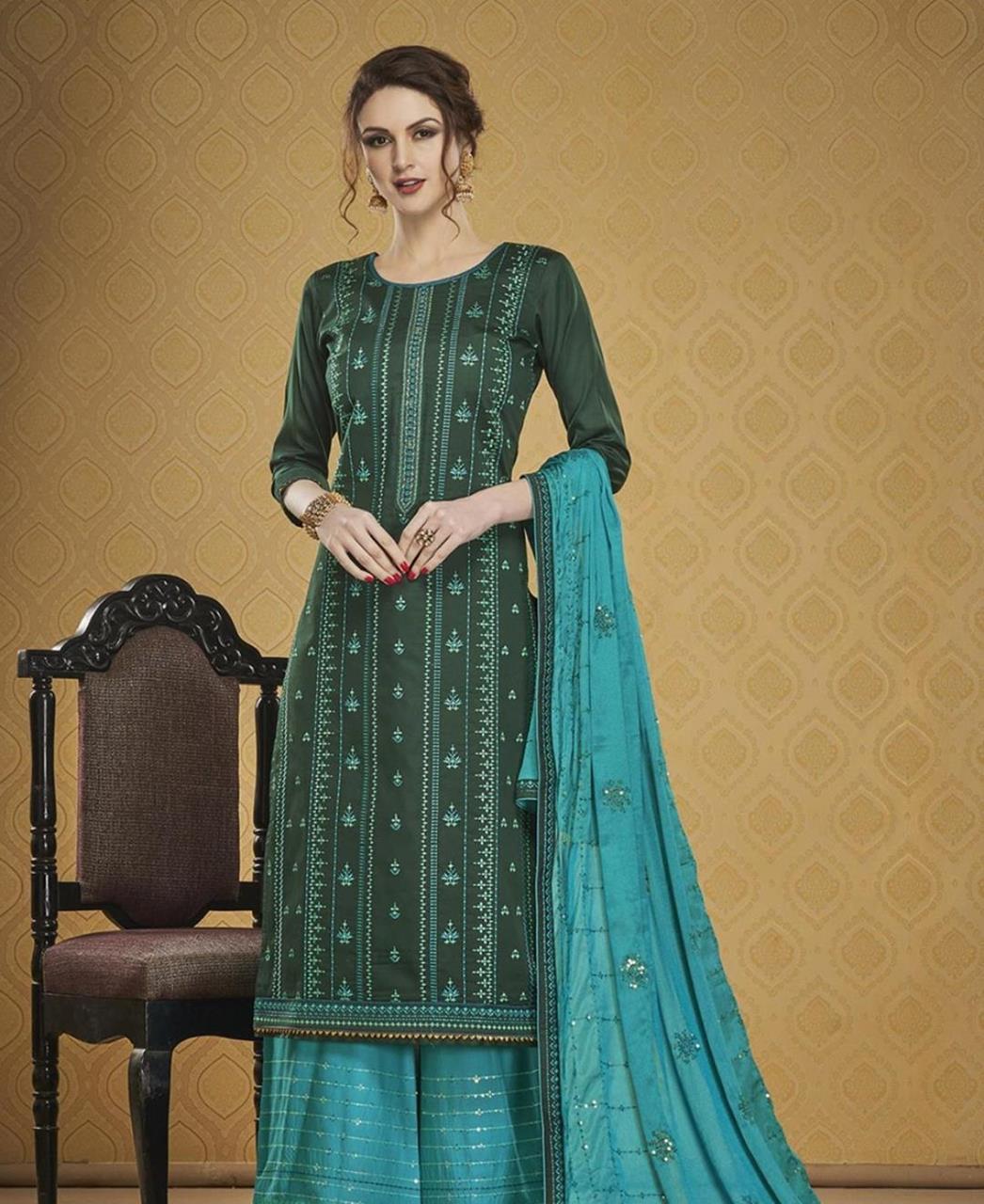 HandWorked Silk Straight cut Salwar Kameez in Green