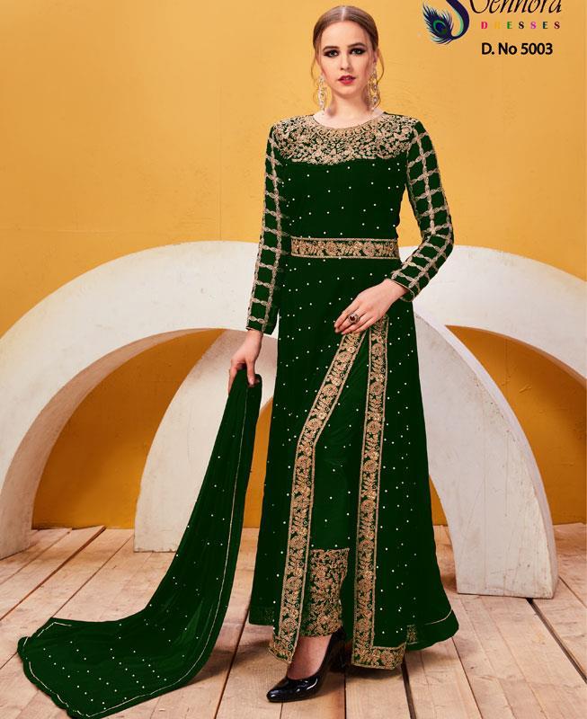 Embroidered Faux Georgette Green Abaya Style Salwar Kameez