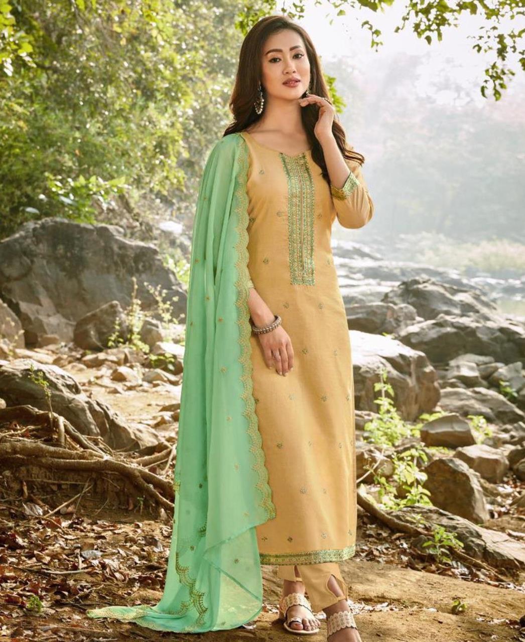 HandWorked Cotton Straight cut Salwar Kameez in Light Yellow