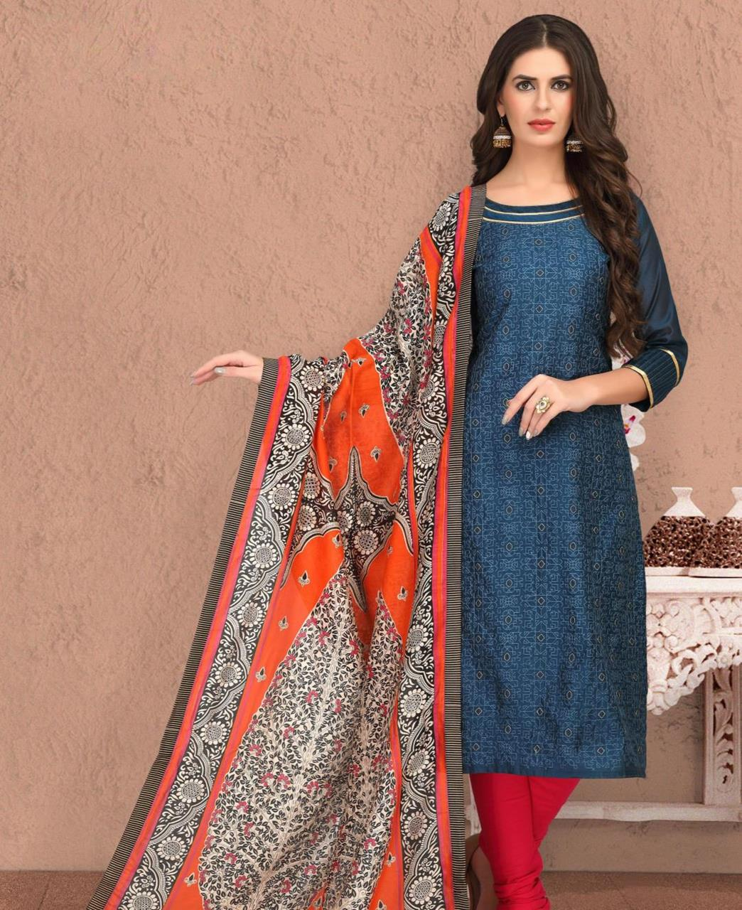 Embroidered Banarasi Silk Blue Straight Cut Salwar