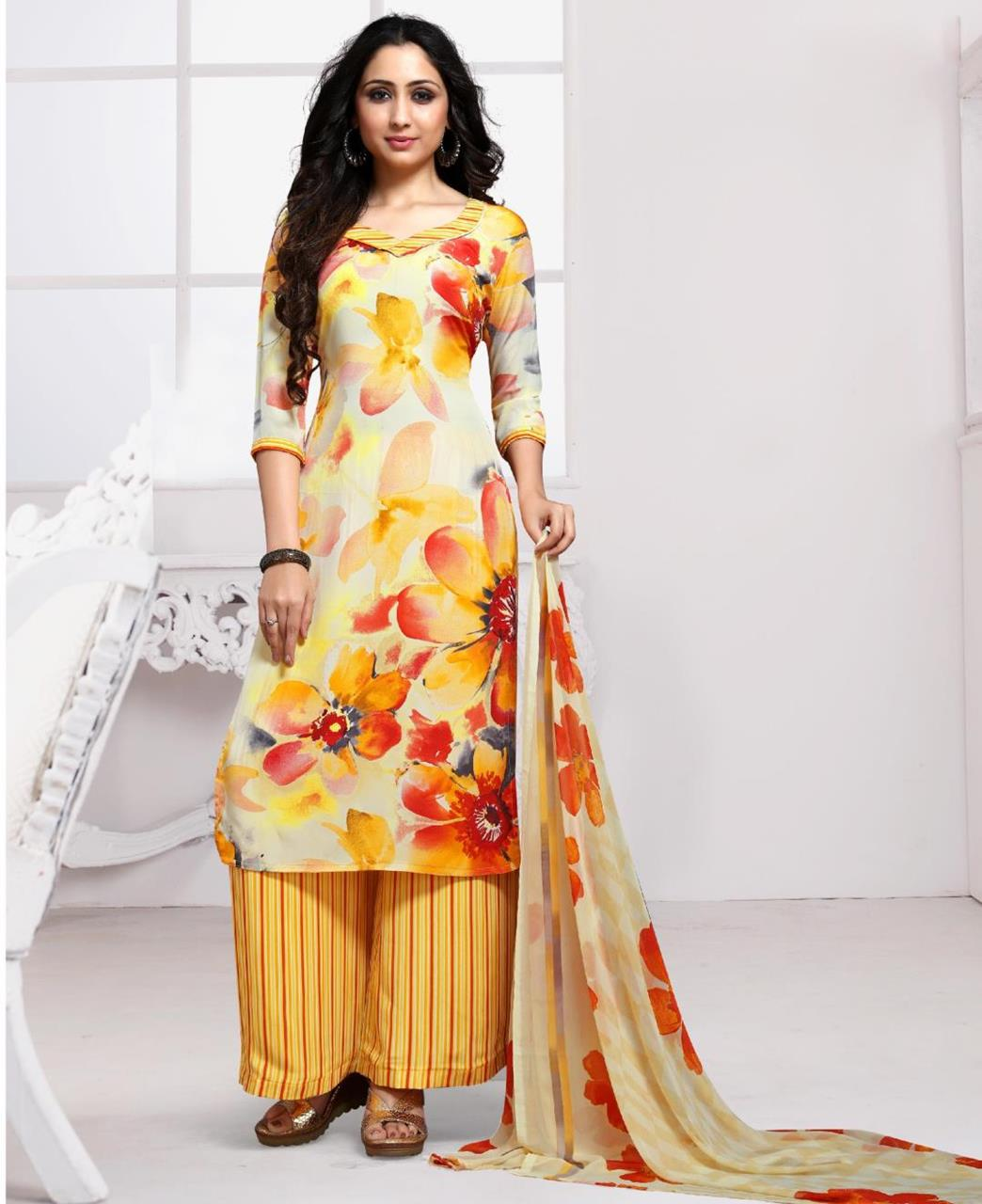 Floral Print Crepe Yellow Palazzo Suit Salwar