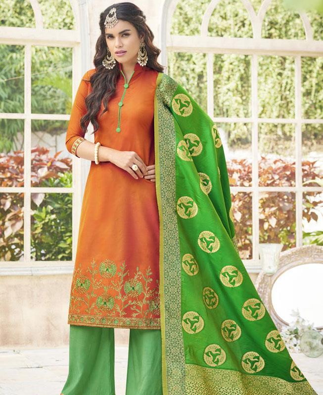 Embroidered Cotton Orange Palazzo Suit Salwar