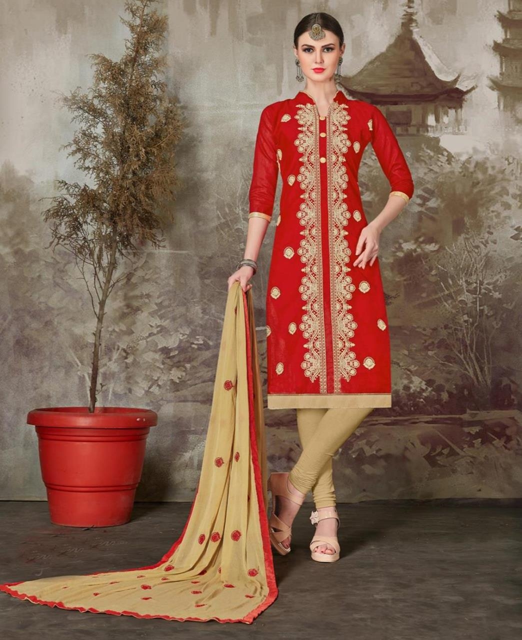 Embroidered Chanderi Red Straight Cut Salwar Kameez