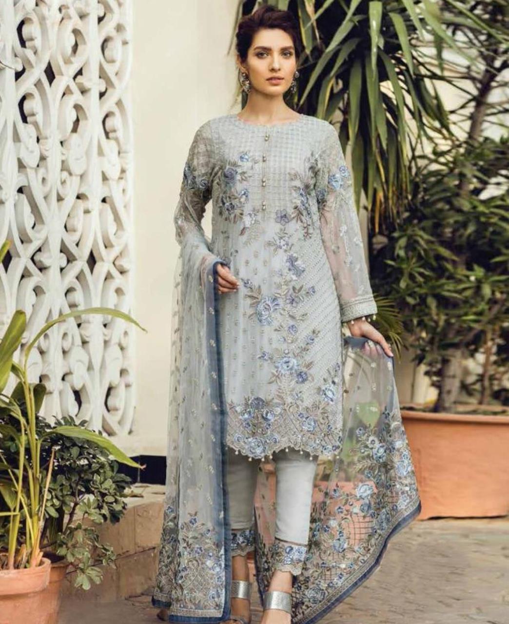 Zari Georgette Straight cut Salwar Kameez in Grey
