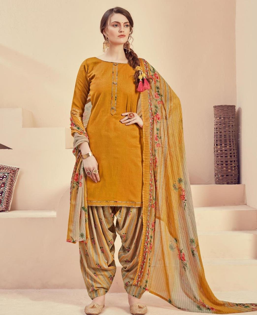 Printed Cotton Patiyala Suit Salwar in Musterd