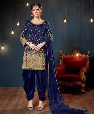 Stone Work Silk Navyblue Patiyala Suit Salwar