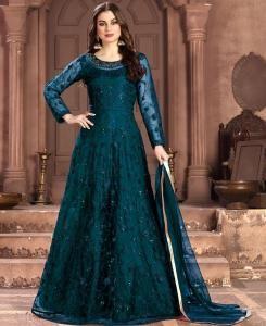 Net Abaya Style Salwar in Sky Blue