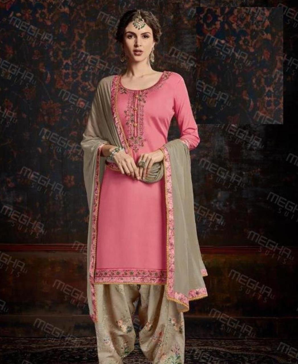 Thread Cotton Straight cut Salwar Kameez in Pink