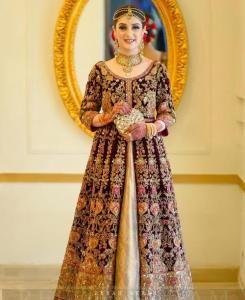 Embroidered Net Abaya Style Salwar in Maroon
