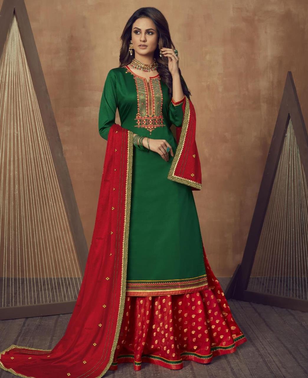 Zari Cotton Abaya Style Salwar in Green