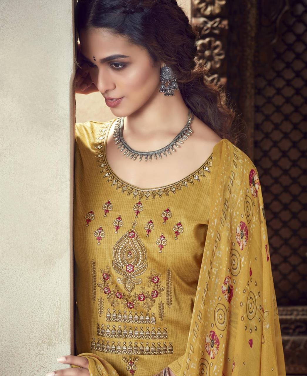 Thread Cotton Patiyala Suit Salwar in Yellow