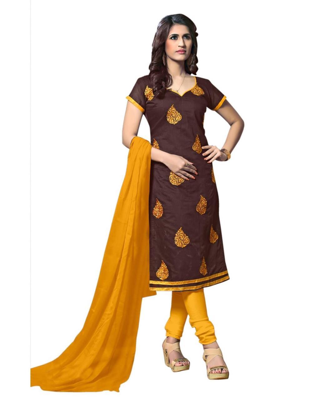 Cotton Straight cut Salwar Kameez in Brown