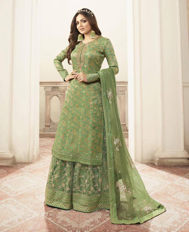 Embroidered Net Straight cut Salwar Kameez in Light Green