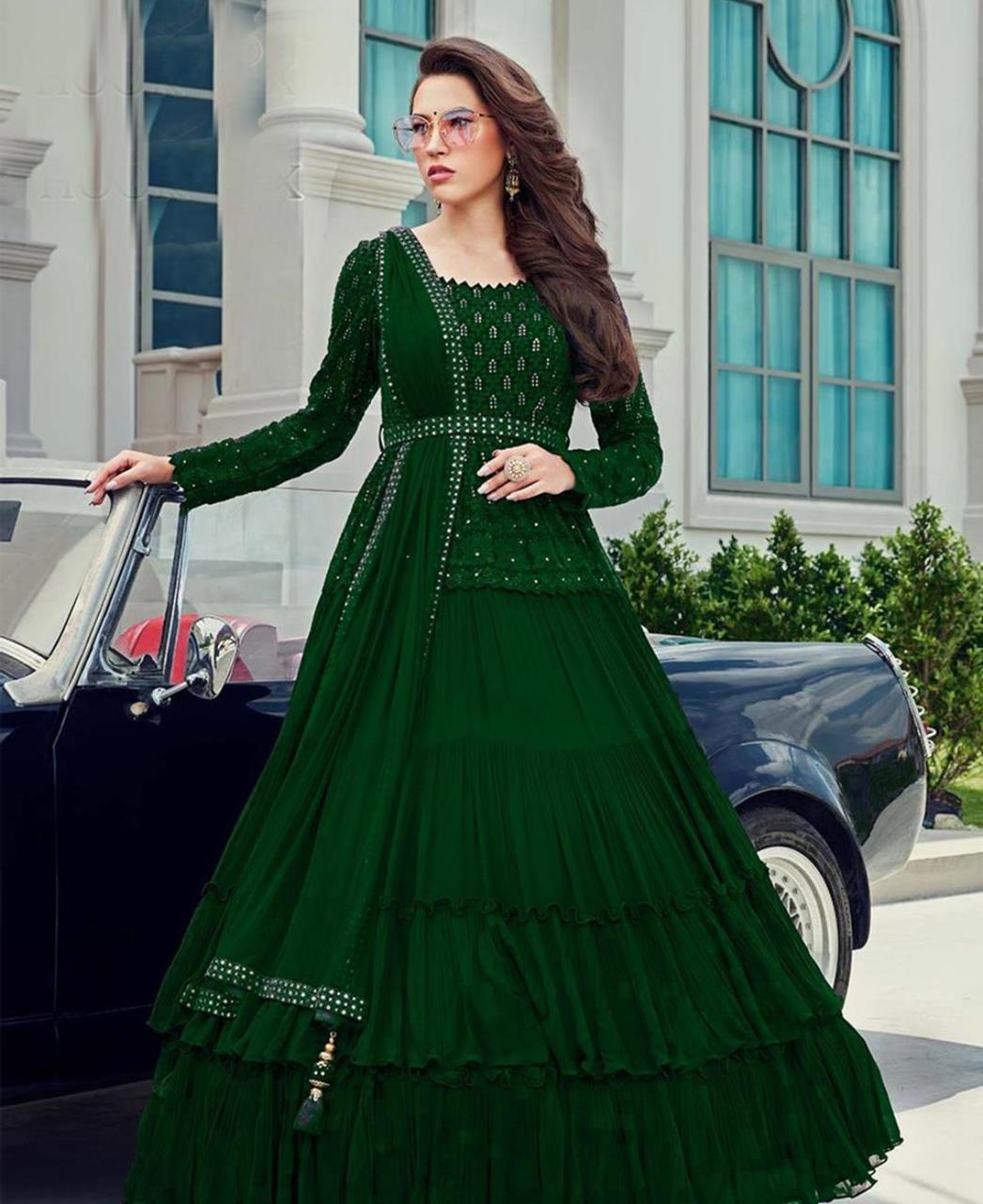 Stone Work Georgette Abaya Style Salwar in Green
