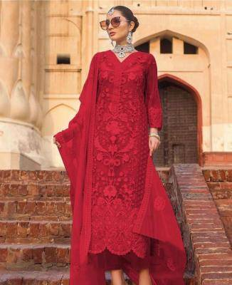 Embroidered Net Red Palazzo Suit Salwar