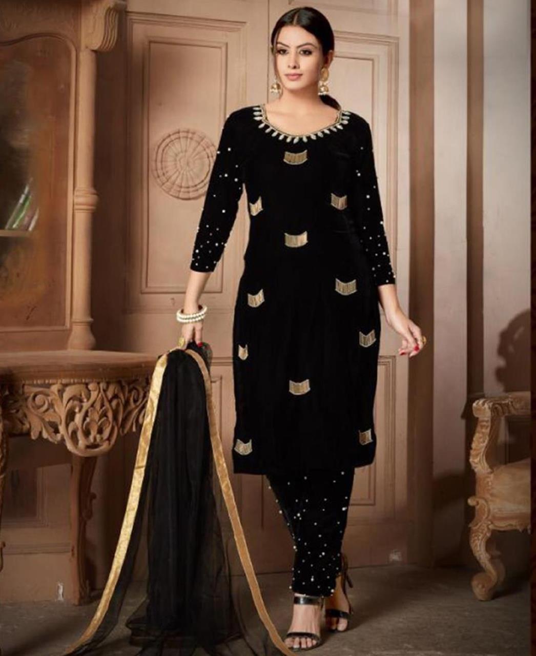 HandWorked Velvet Black Straight Cut Salwar
