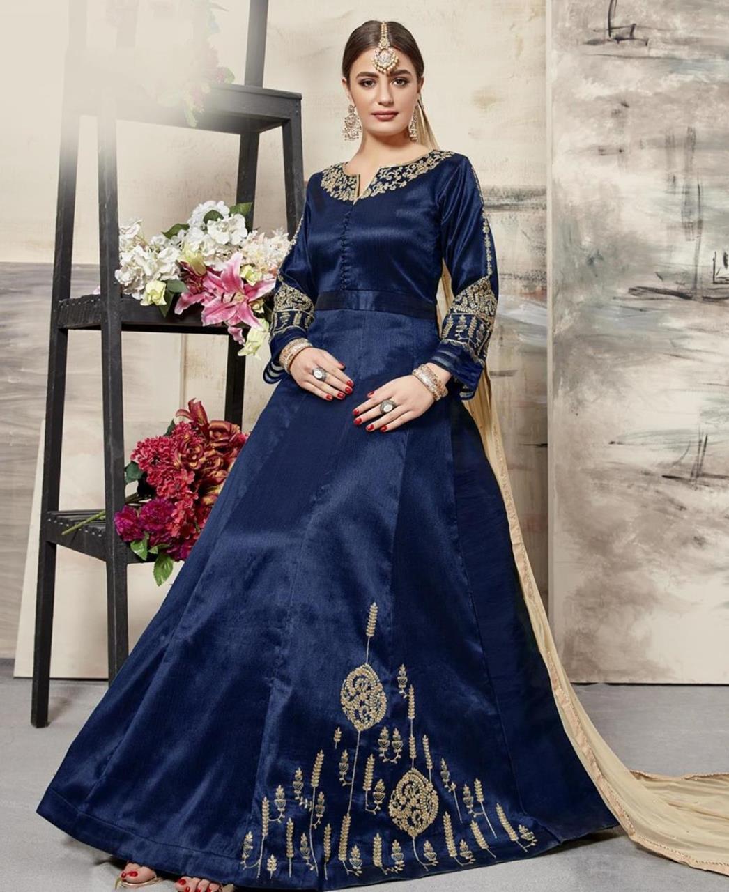 Embroidered Silk Navyblue Abaya Style Salwar