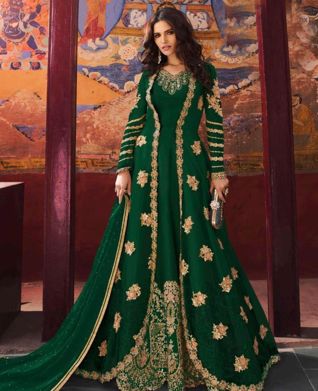 Embroidered Net Green Abaya Style Salwar