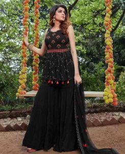 HandWorked Georgette Straight cut Salwar Kameez in Black