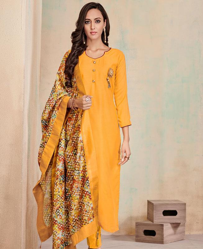 Butta Work Cotton Yellow Straight Cut Salwar