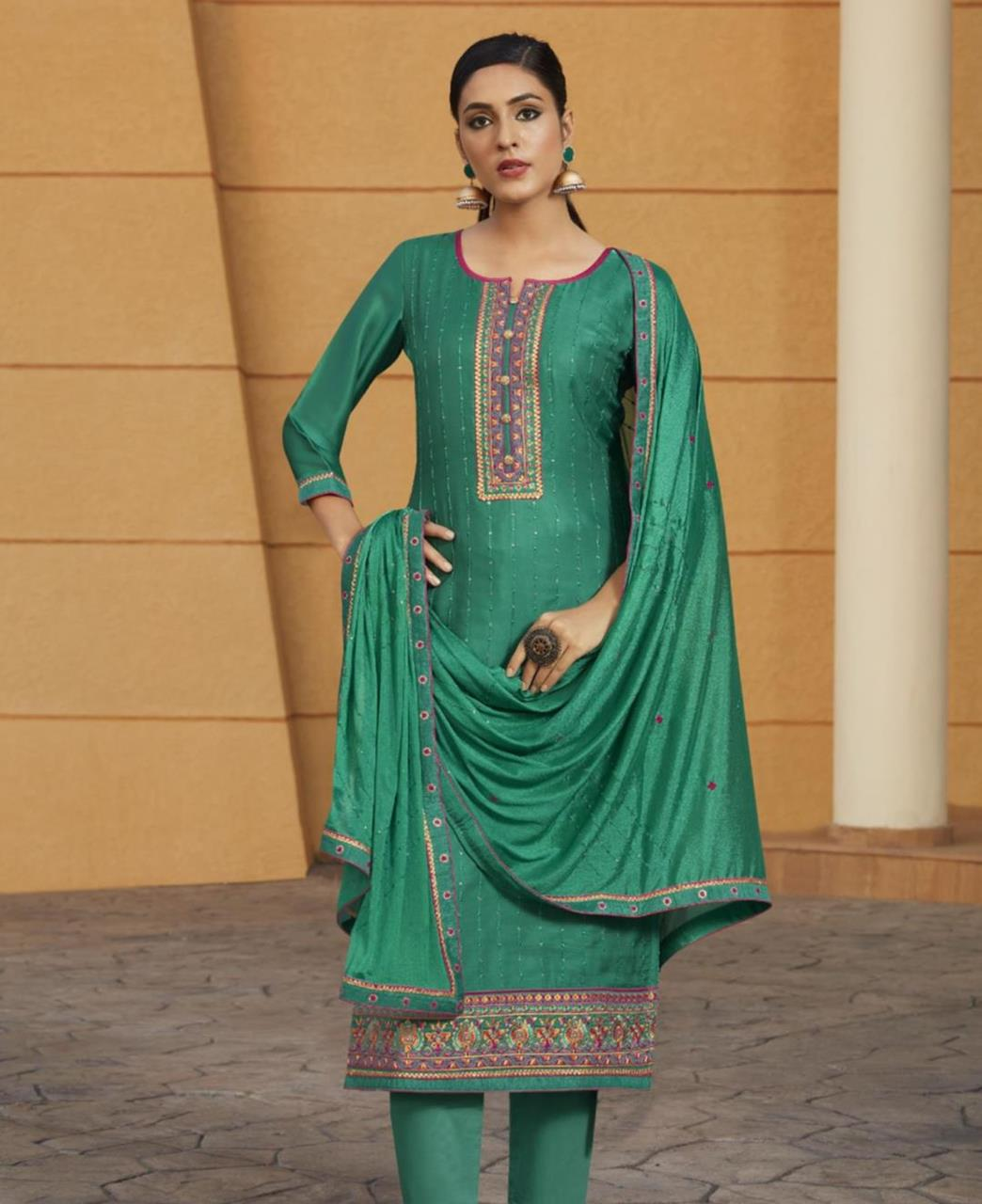 Stone Work Satin Straight cut Salwar Kameez in Green