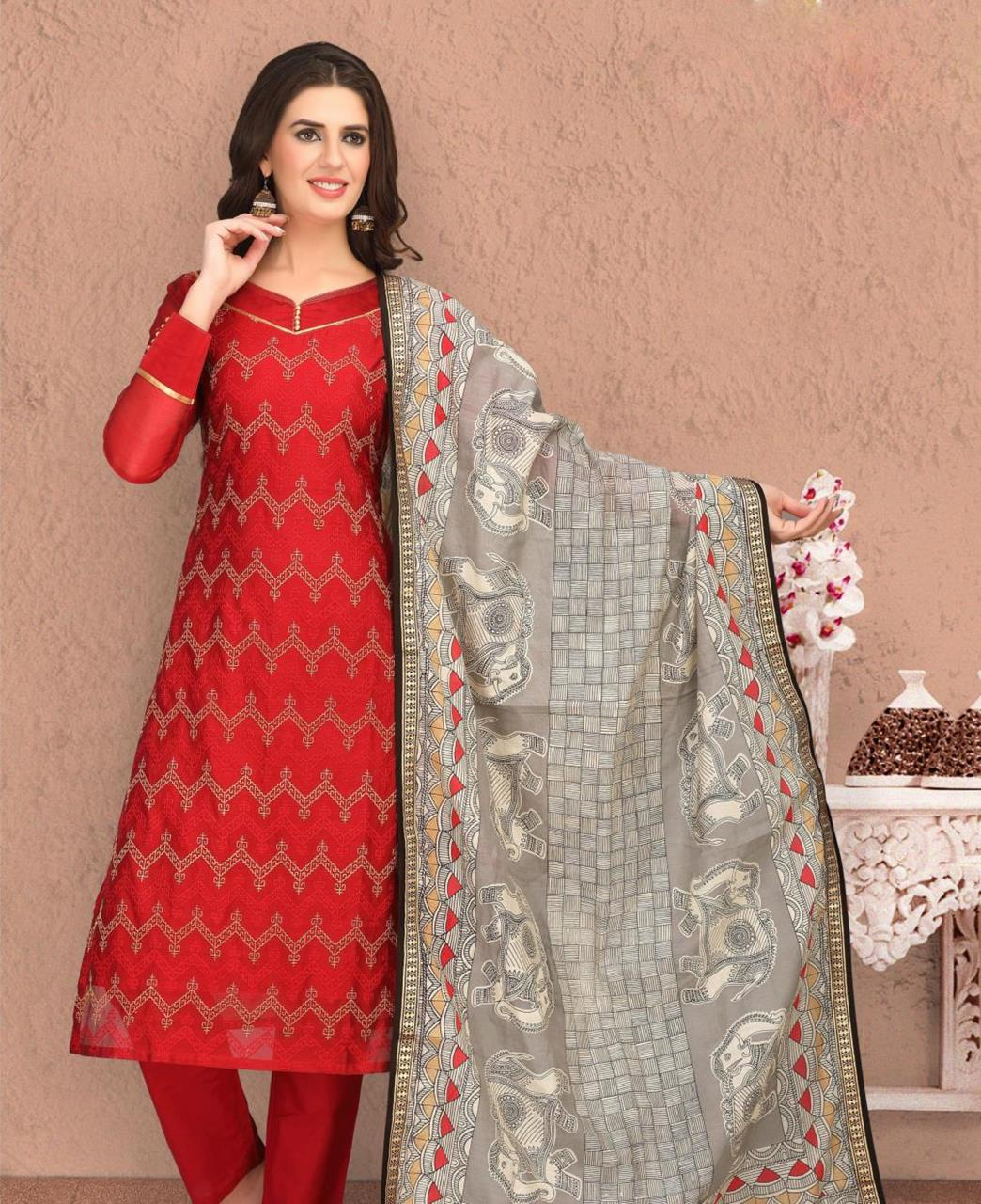 Embroidered Banarasi Silk Red Straight Cut Salwar
