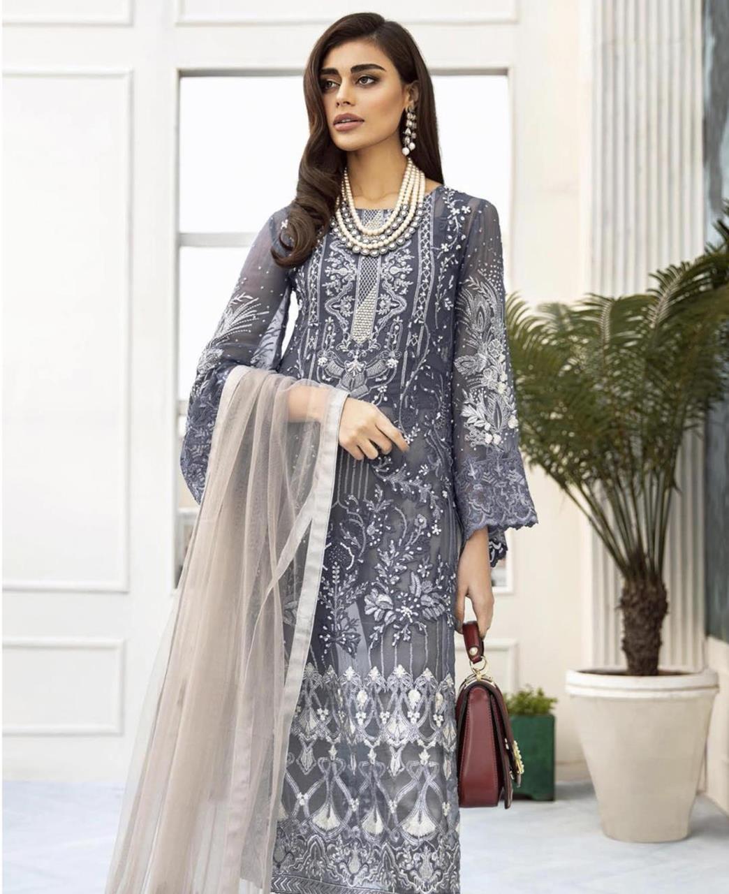 Thread Net Straight cut Salwar Kameez in Grey