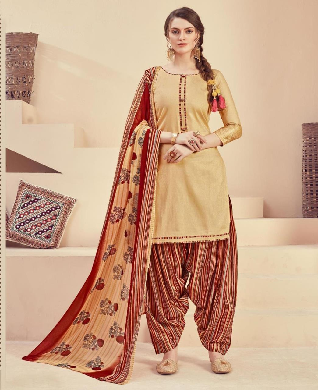 Printed Cotton Patiyala Suit Salwar in Cream