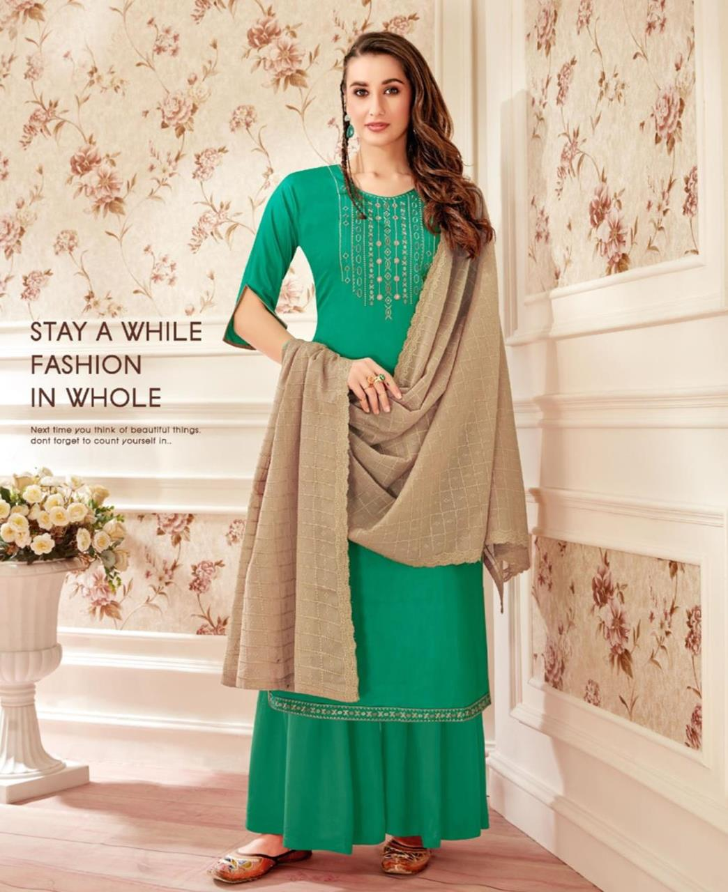 Embroidered Cotton Straight cut Salwar Kameez in Green