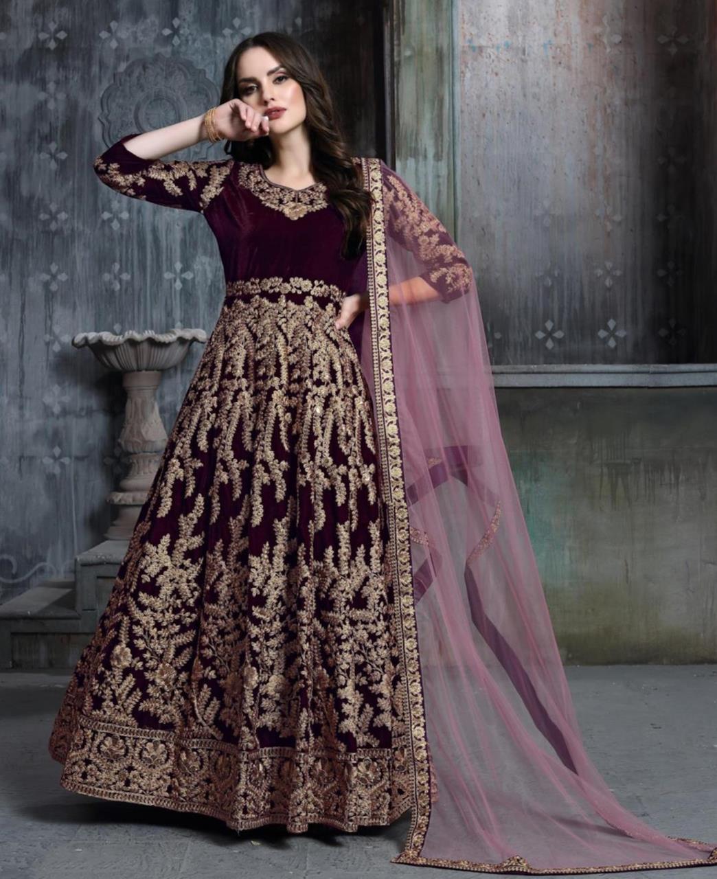 Embroidered Velvet Purple Abaya Style Salwar Kameez