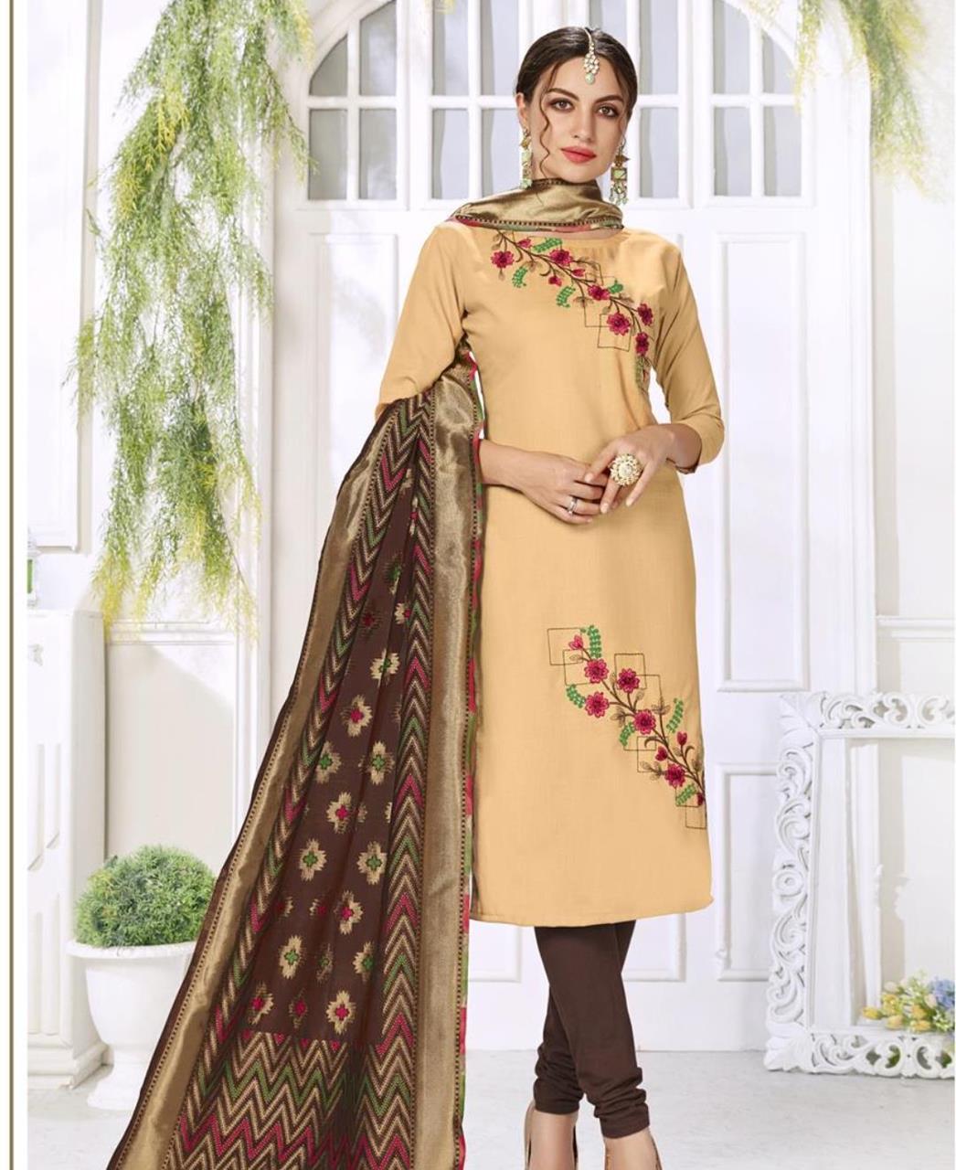 Embroidered Cotton Beige Straight Cut Salwar
